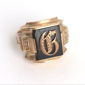Vintage Art Deco Onyx 10k Gold Ring B Monogram